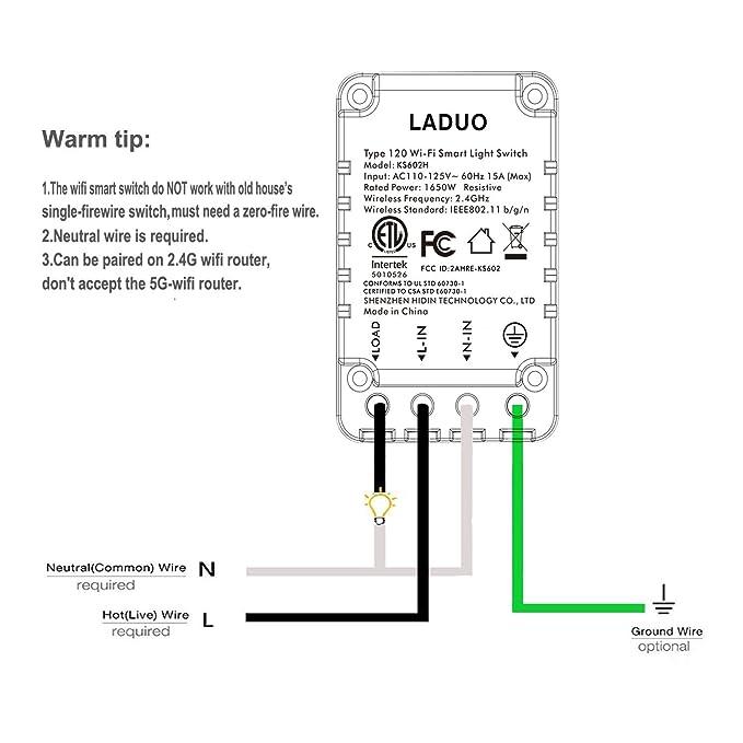 Smart Light Switch, Wi-Fi Switch Wireless Light Switch Compatible ...