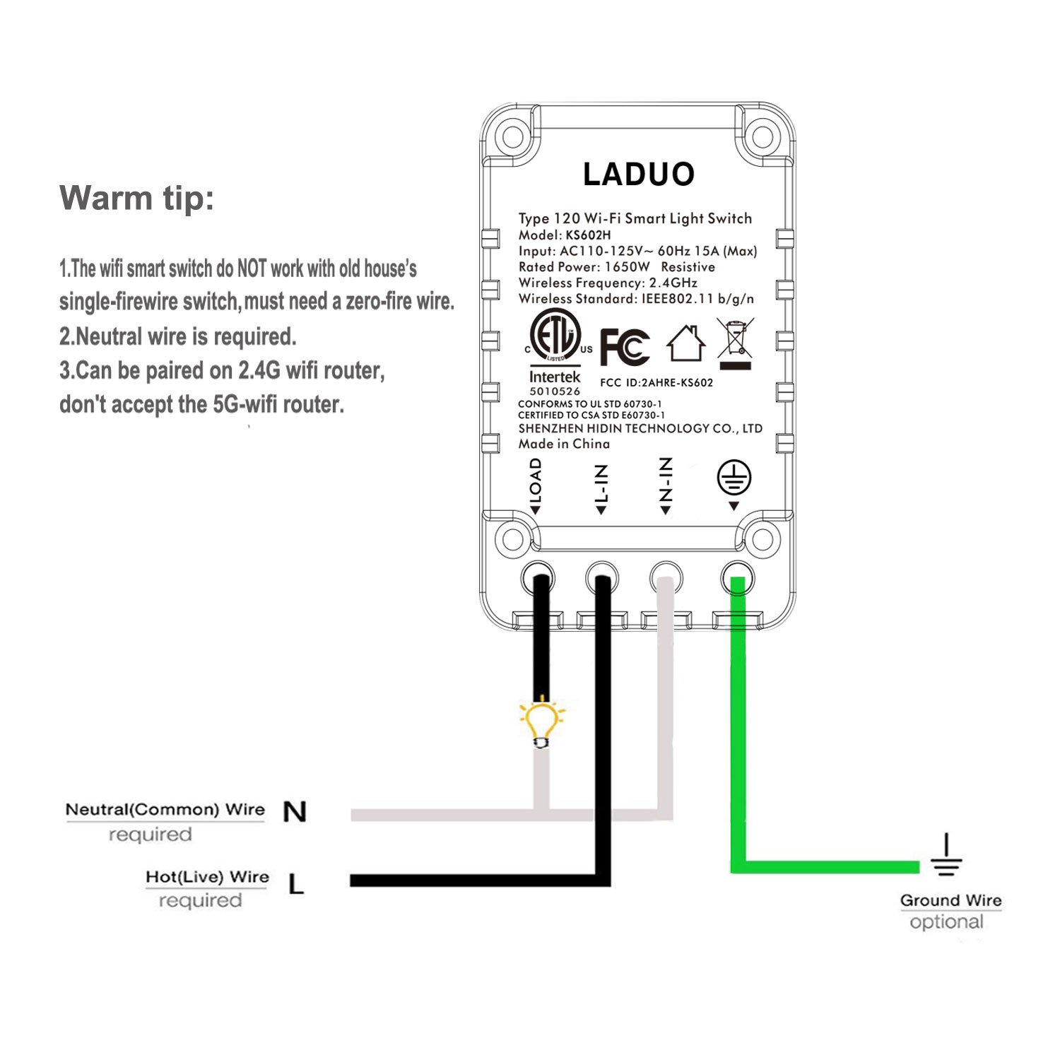 Smart Light Switch, Wi-Fi Switch Wireless Light Switch Compatible with Alexa and Google Home,No Hub Required,Timing Function,Control Your Fixtures From Anywhere (ON/Off Switch-1PCS) by LADUO (Image #6)