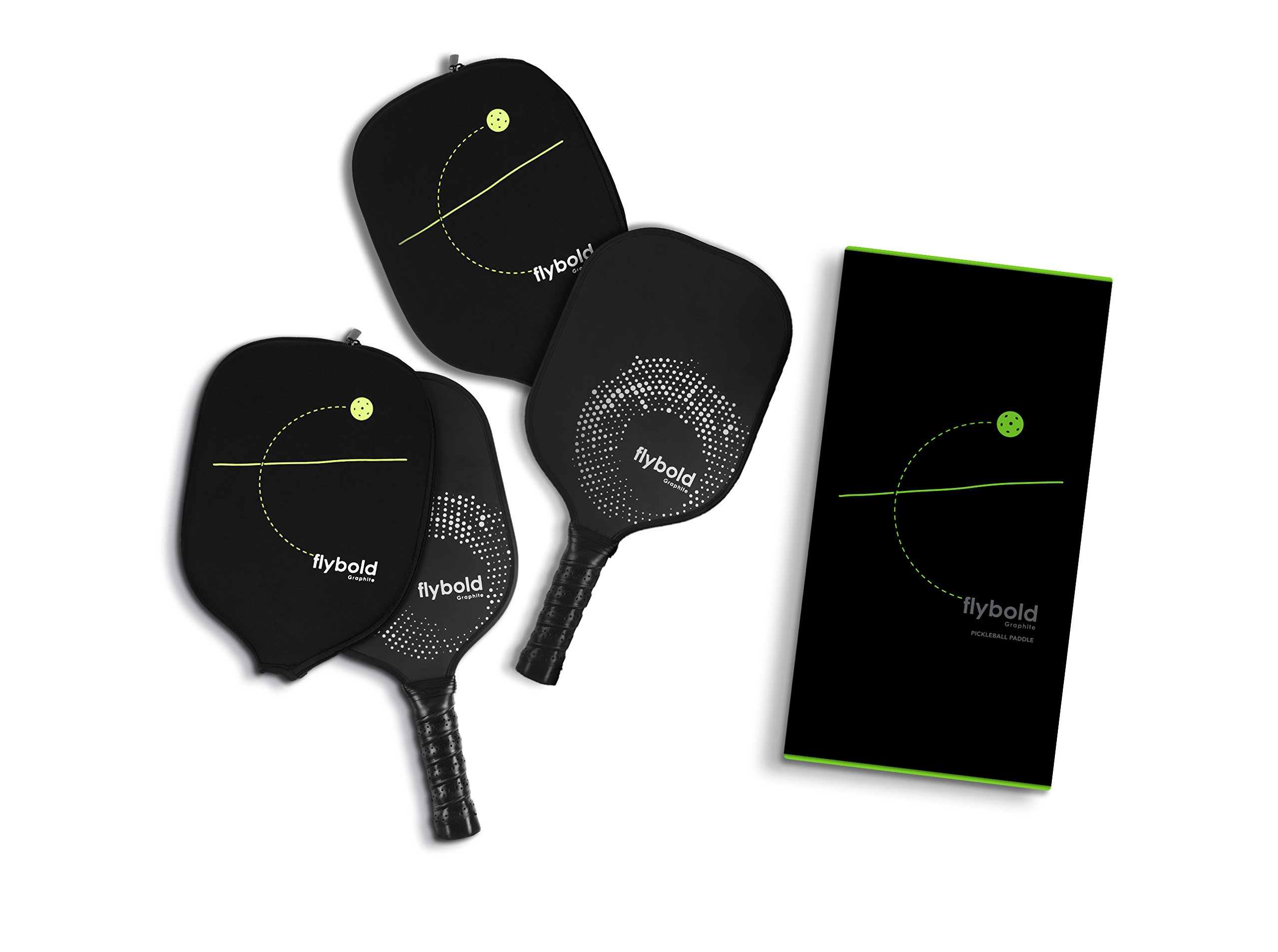 flybold Pickleball Paddle Set of 2 Graphite Face Polymer Honeycomb Core Ultra Cushion Grip Low Profile Edge Guard Perfect Grip Size Light Weight Neoprene Case by flybold