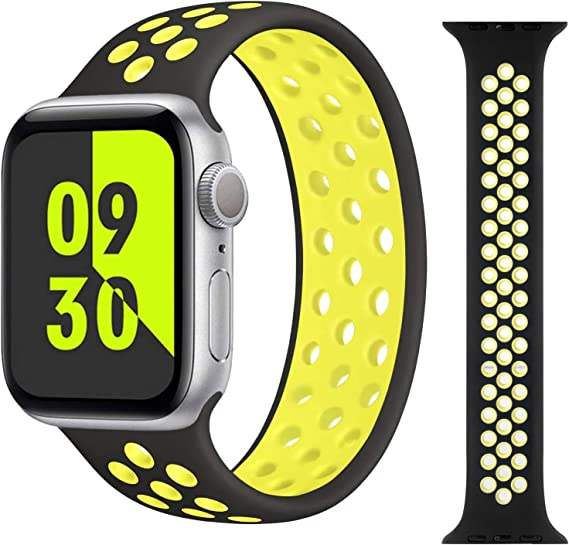 MoimTech Stretchy Solo Loop Strap Compatible with Apple Watch Bands 38mm/40mm/42mm/44mm,Sport Elastics No Clasps or Buckles Silicone Women Men Braided Wristband for iWatch Series 6/SE/5/4/3/2/1