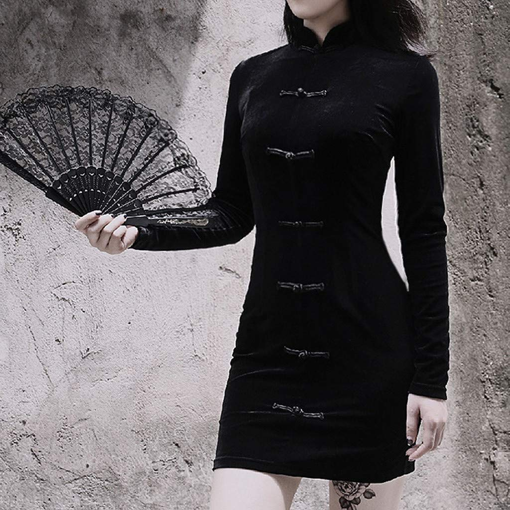 Pulloverkleid VENMO Damen Freizeit Kleid Stehkragen Hohe Taille Rei/ßverschluss Kn/öpfe Ballkleid Festkleid Langarm Kleid Blusenkleider Businesskleid