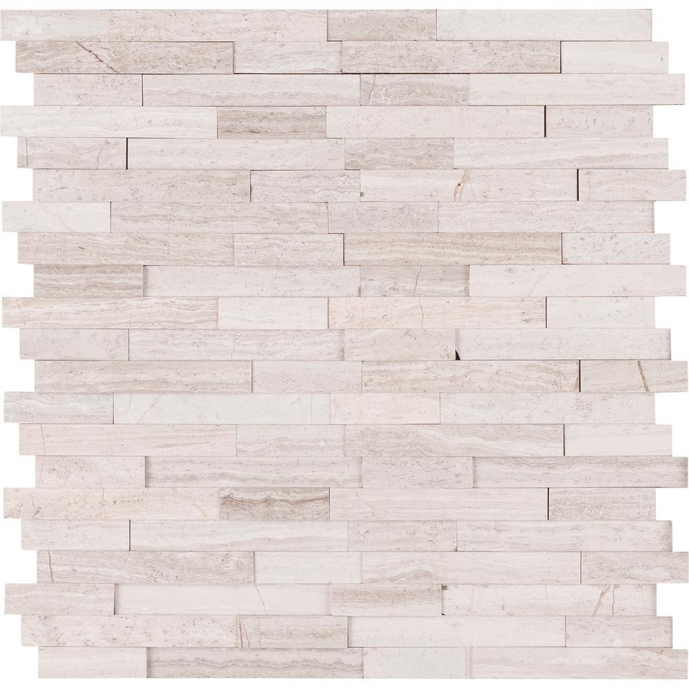 Vogue Peel & Stick Light Athens Gray Honed Brick Pattern Mosaics for Kitchen Backsplashes, Wall Fireplace Tile (15)