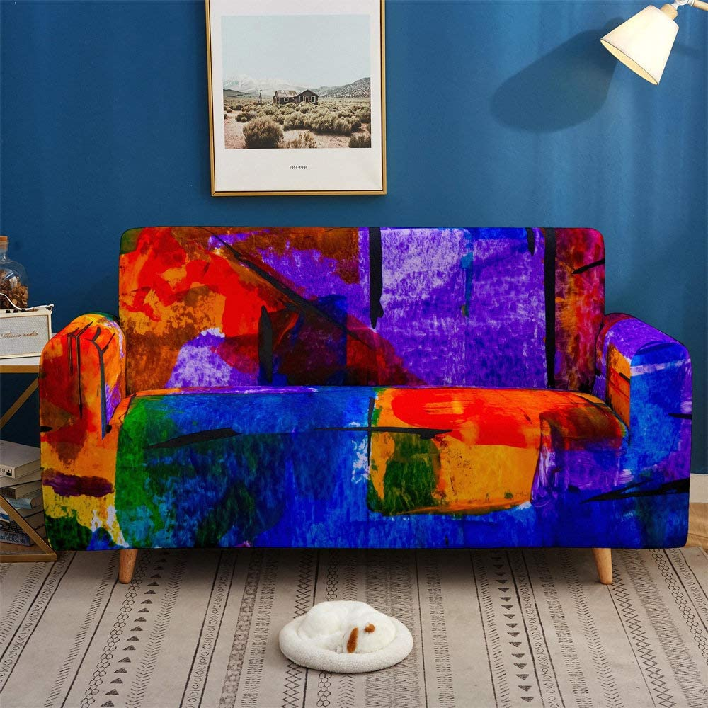 Printed Sofa Cover Stretch,Colored Abstract Graffiti 3D Printed Polyester Spandex Stretch Couch Cover,Furniture Universal Sofa Cover For Armchair/Loveseat/Couch/Big Sofa,3,Seater 190,230Cm