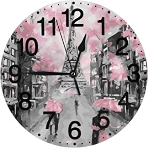 Paris Street Eiffel Tower Pink Floral Wall Clock Silent Non Ticking Battery Operated 10 Inch Clocks Living Room Decor Quartz