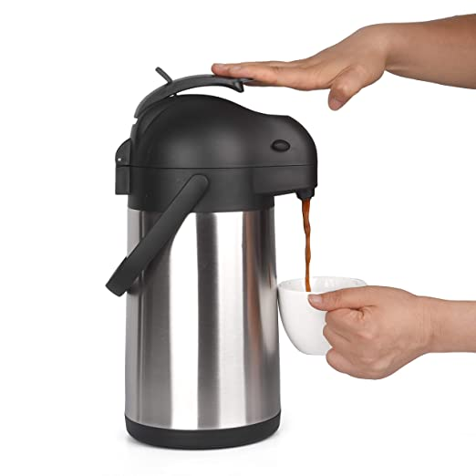 74 Ounce (2.2 Liter) Airpot Thermal Coffee Carafe/Lever Action/Stainless Steel Insulated Thermos / 12 Hour Heat Retention / 24 Hour Cold Retention
