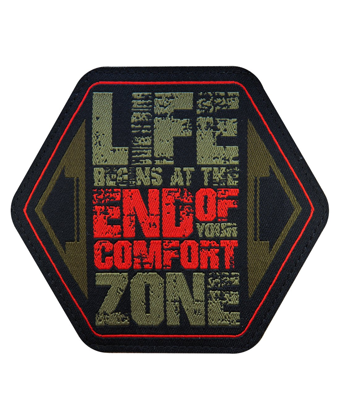 Life Begins At The End Of Your Comfort Zone Stoff Patch Aufnä her Abzeichen - Oliv Rot Fritz Meinecke