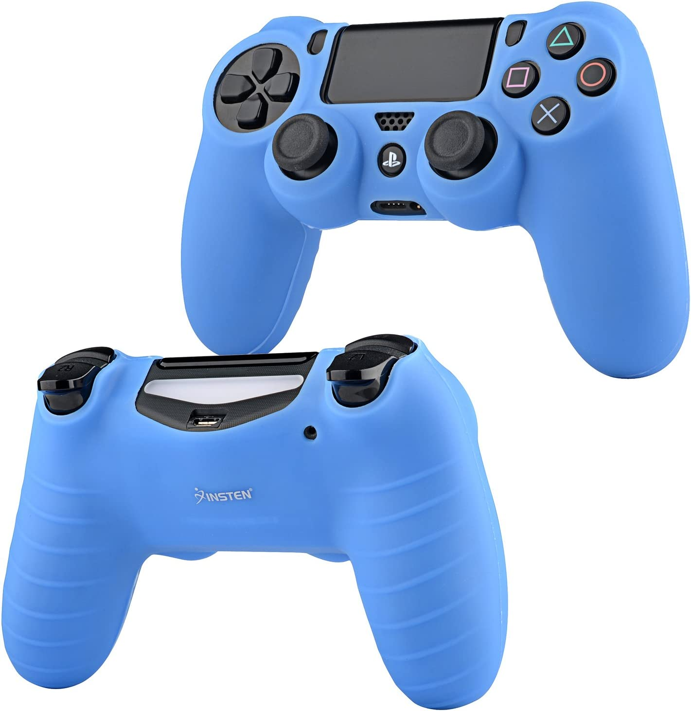 Insten 2 Pack Blue Silicone Skin Case with FREE 1 Dual USB Stand Charger Charging Station Compatible with Sony PlayStation 4 Controller PS4