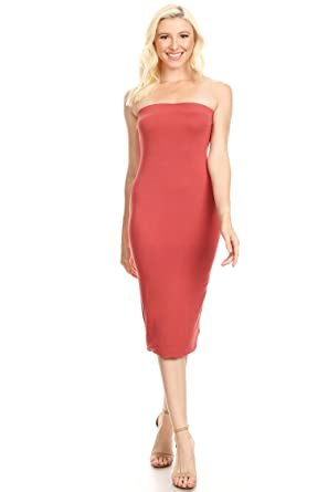 e493f5d13a3 Women s Solid Casual Lined Tube Top Body-Con Fit Midi Dress Made in ...