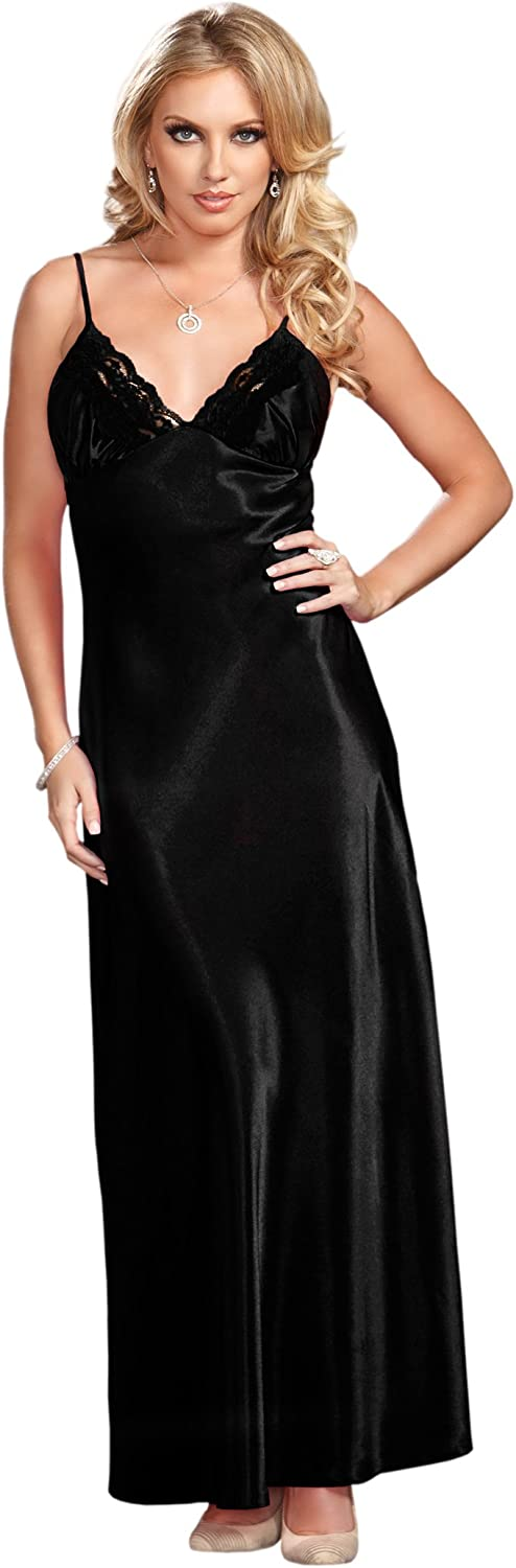 iCollection Women's Long Lace Trimmed Satin Gown, Black, Small: Clothing