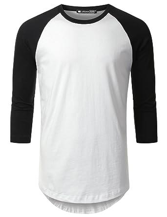 innovative design 4dfa8 92623 URBANCREWS Mens Hipster Hip Hop 3 4 Sleeve Raglan Baseball T-Shirt WHTBLK,