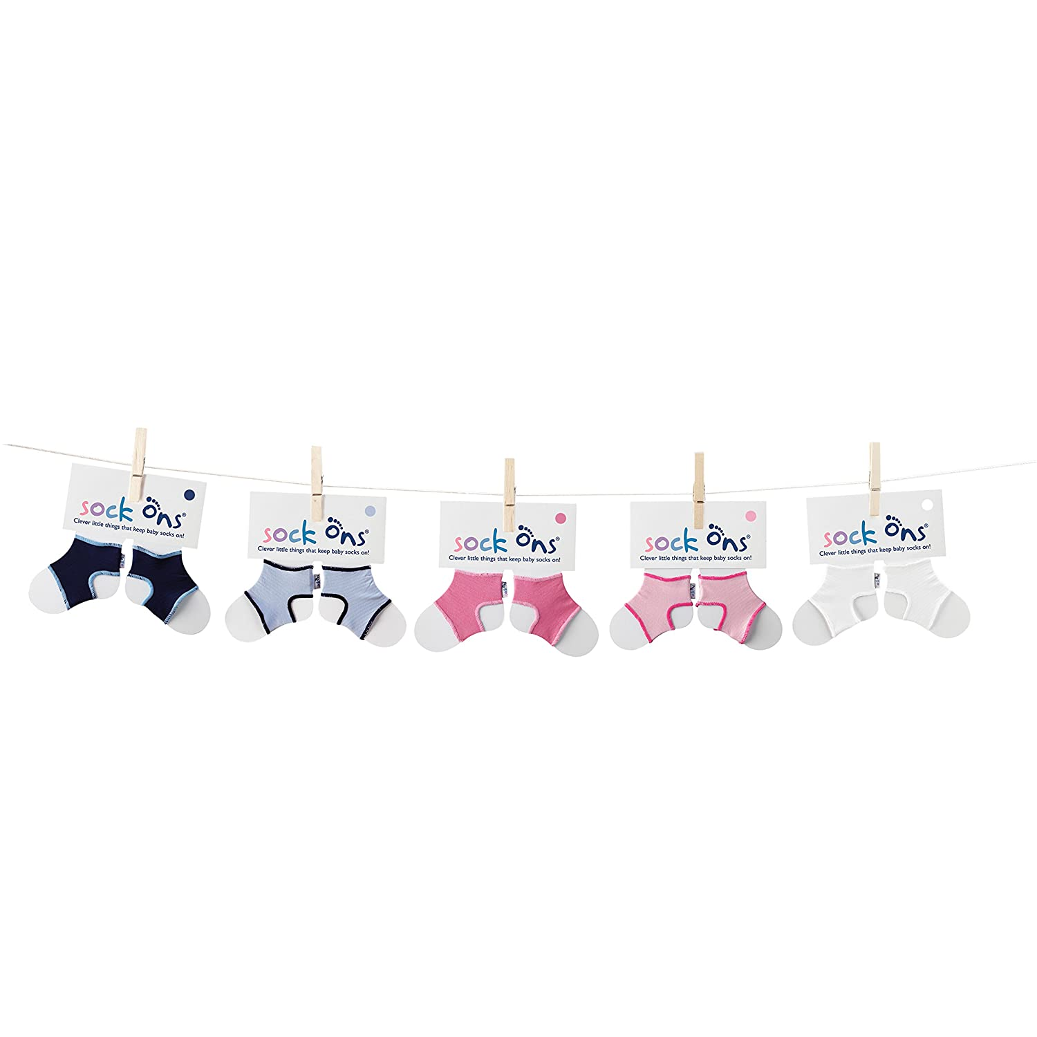0-6m White Sock Ons Clever Little Things That Keep Baby Socks On