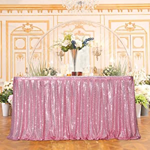Juya Delight Sequin Table Skirt Rectangle Round Table Cover for Party Wedding Baby Shower Decoration(Fuchsia Pink,L 6(ft) H 30in )