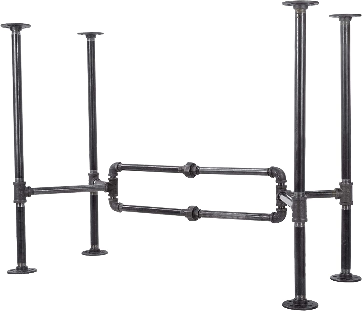 Industrial Pipe Desk Leg Set by Pipe Decor, Modern Home Office Table Writing or Computer Base Kit, Dark Grey Black Rough Pipes, Rustic Vintage Furniture Unfinished Steel Metal Pipe Legs, O-Desk Style