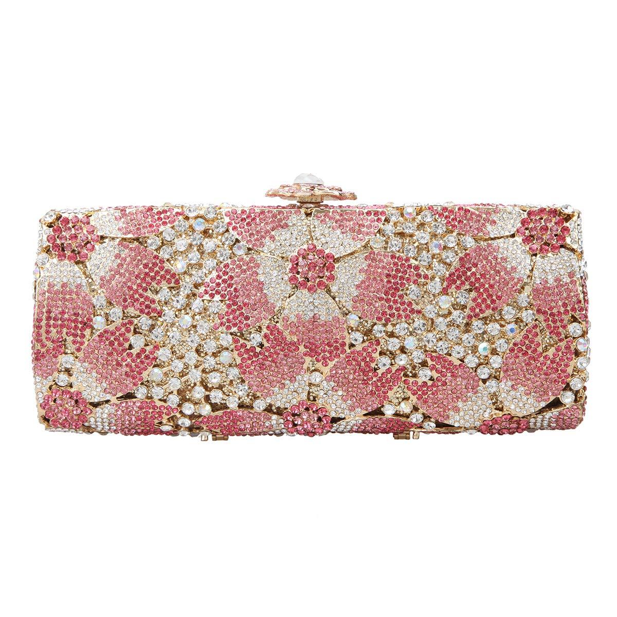 Fawziya Sakura Flower Hard Case Purse Luxury Crystal Evening Clutch Handbag-Pink