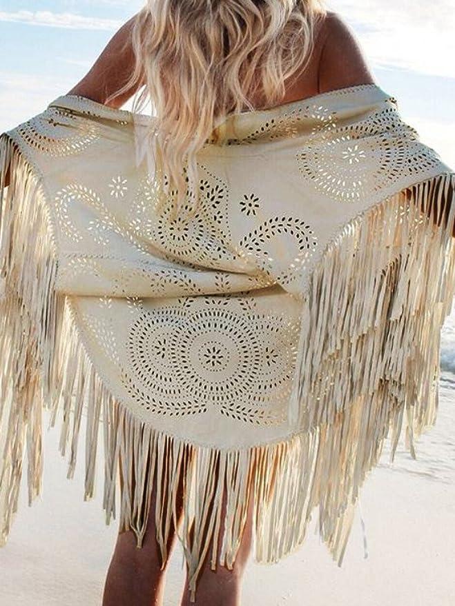 CHARLES RICHARDS CR Women's Suedette Laser Cut Asymmetric Fringed Cape Tasseled Kimono Blouse (Burgundy)