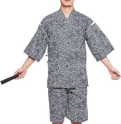 Traje de Pijama de Kimono de Estilo japonés de Jinbei para Hombre, Talla XL-A02