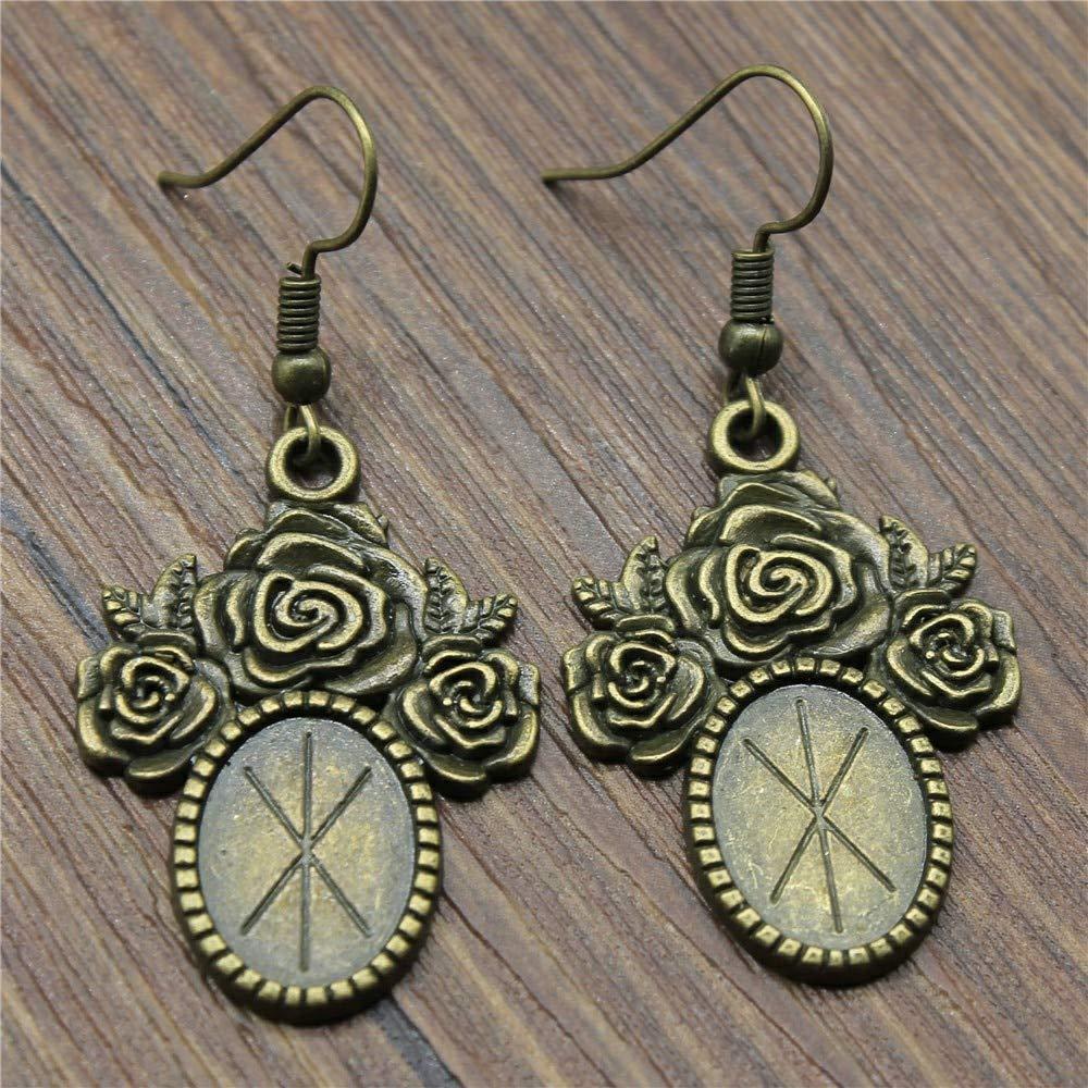 WYSIWYG 3 Pairs Drop Earrings Jewelry Earrings Findings Flower Single Side One Hanging Inner Size 10x14mm Oval with Earring Backs Stopper