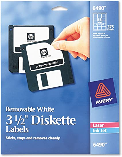 """Avery removable diskette labels, 2-11/16""""x 2"""", 375 labels (6490."""