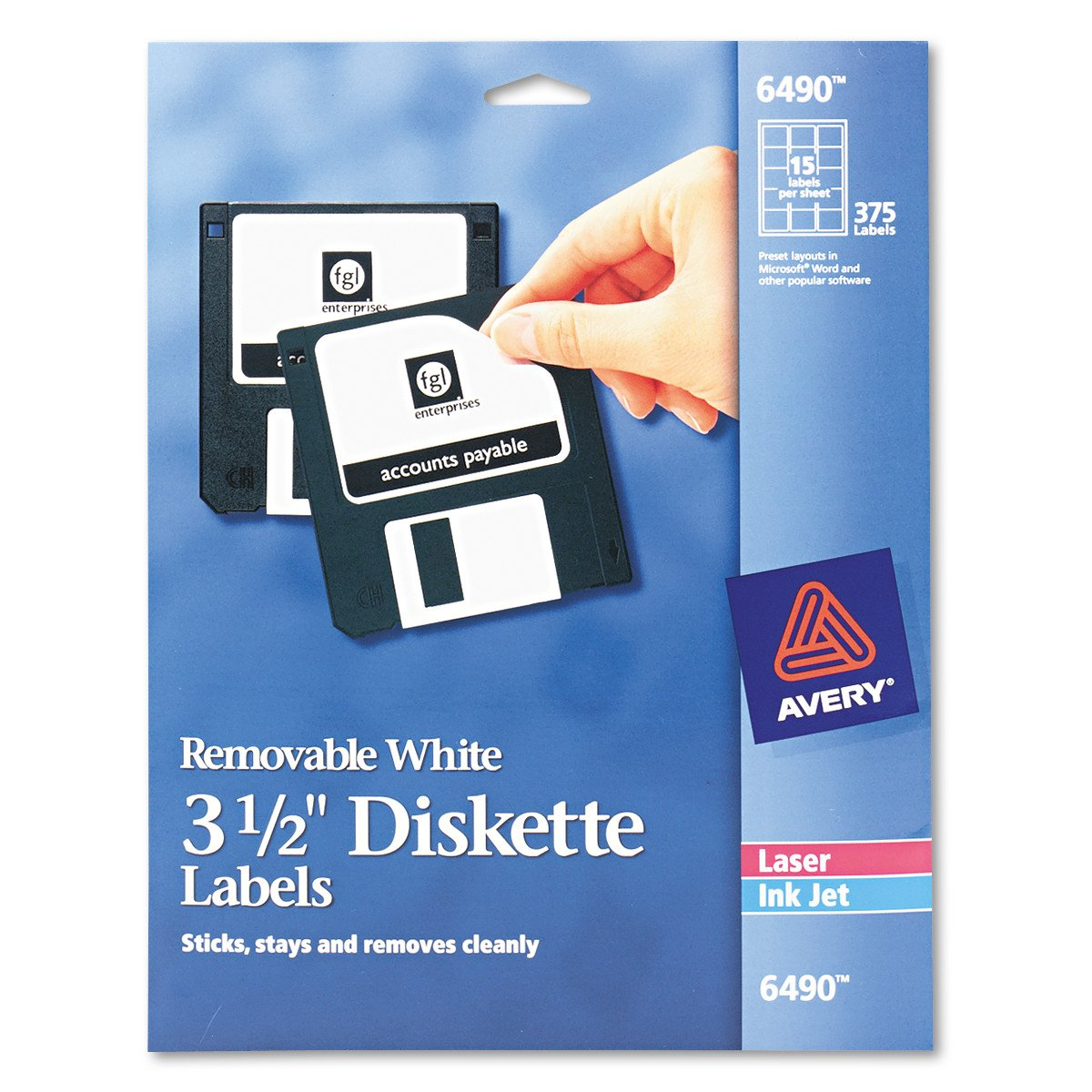 Avery Media Labels (AVE6490), 3-1/2'' Diskette Labels 15 labels per sheet, 375 labels total