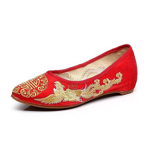 Lazutom - Mocasines de Lona para mujer, color Rojo, talla 34 EU
