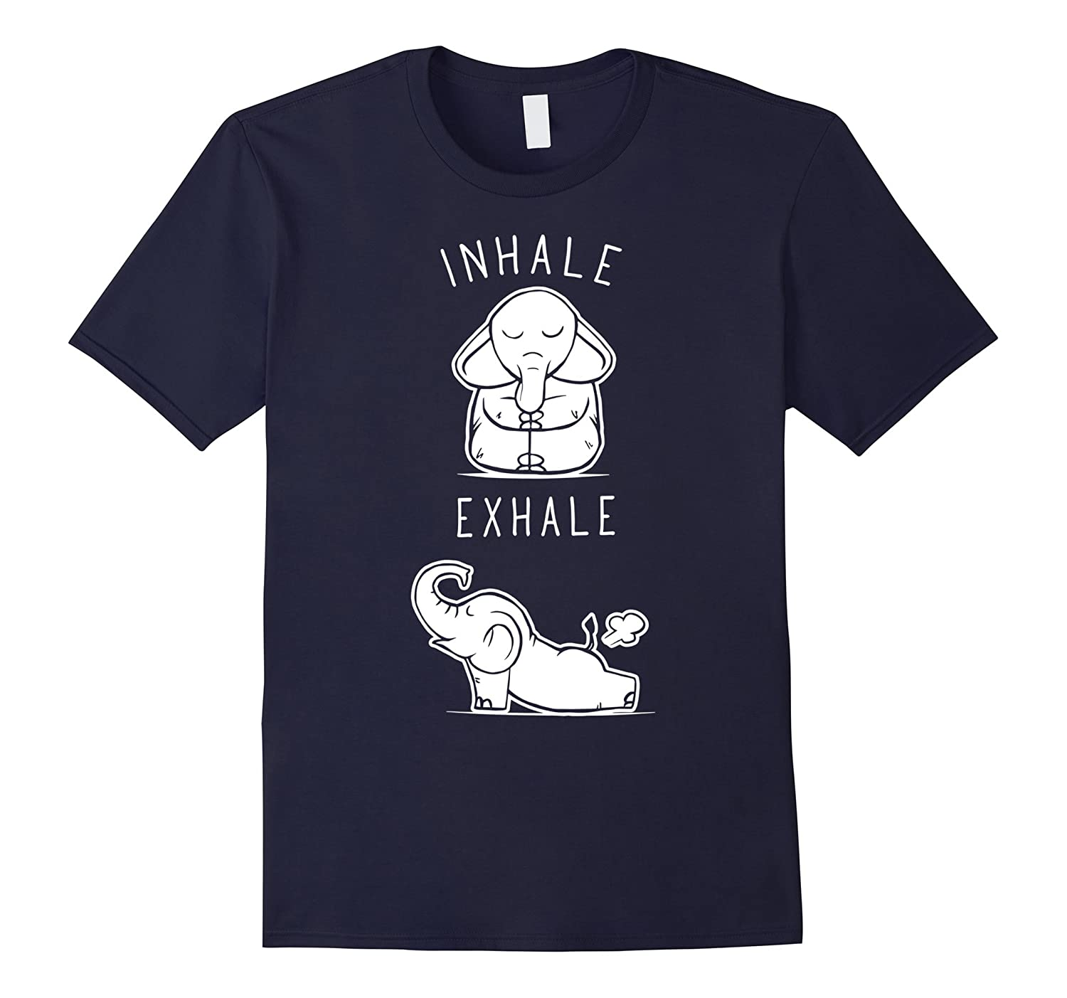 Yoga T Shirt Funny Elephant Inhale Exhale Yoga T Shirt-BN