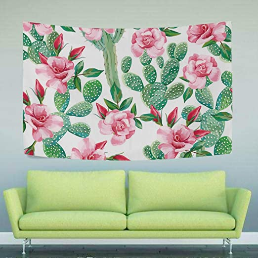 Rose Flower and Beach Tapestry Wall Hanging Living Room Bedroom Dorm Decor