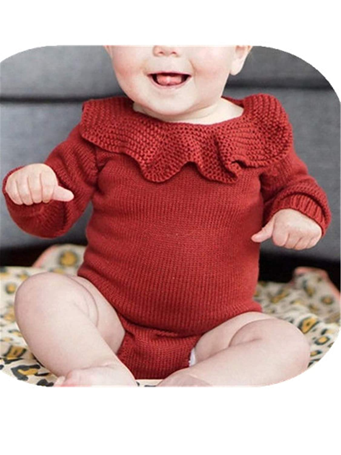 Daniel Galsworthy Baby Boy Girl Autumn Winter Clothes Long Sleeve Solid Color Knitted Warm Romper Jumpsuit