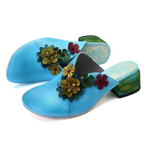 gracosy Pantofole in Pelle Donna Sandali Mocassini con Tacco Blocco Donna Estive Casual Scarpe Leggero Traspirante Pantofole Sandali con Zeppa Outdoor