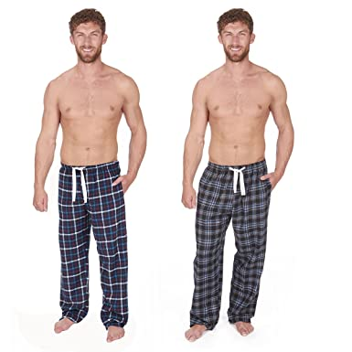 3cbc7ab4b3 Cargo Bay Mens Flannel Lounge Pants with Elasticated Waistband (Pack of 2)   Amazon.co.uk  Clothing