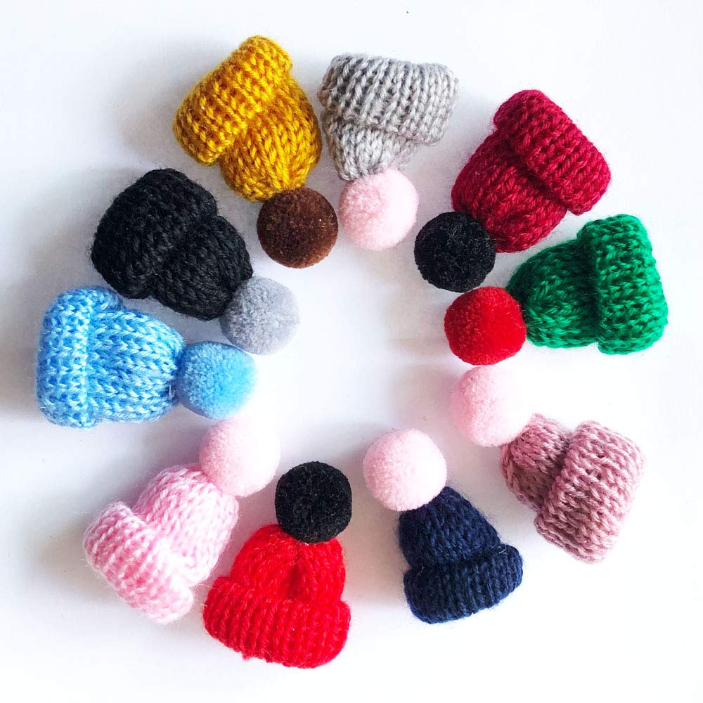Carykon 10 Pcs Mini Knitting Hats DIY Crafts Wool Yarn Hair Accessories Assorted Color