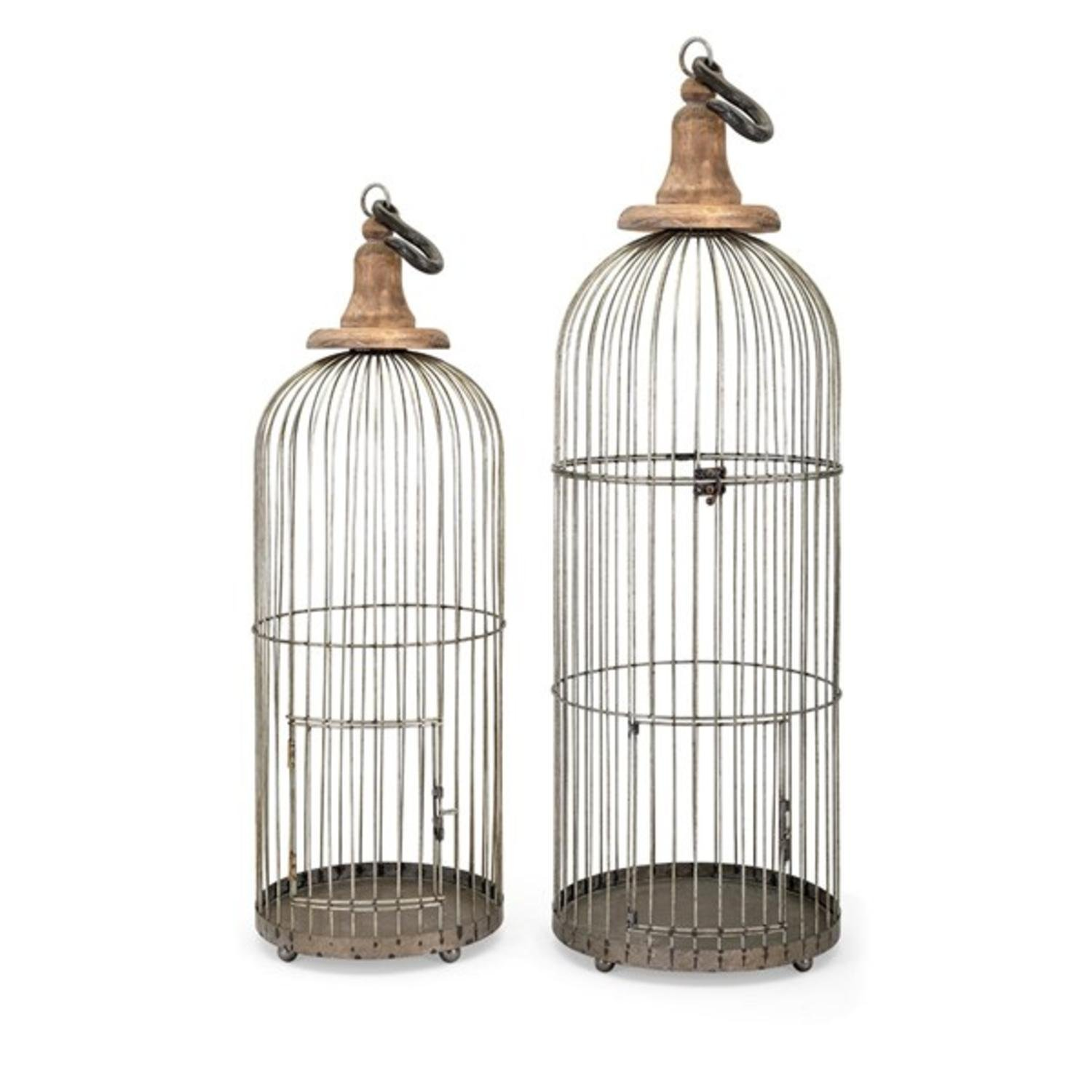 "Set of 2 Taupe Gray Metal Lenore Bird Cages 38"" by CC Home Furnishings"