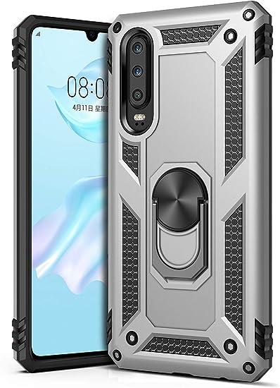 GREATRULY Coque de téléphone avec béquille pour Huawei P30 - Robuste - Double couche de protection contre les chutes - Coque rigide TPU souple ...