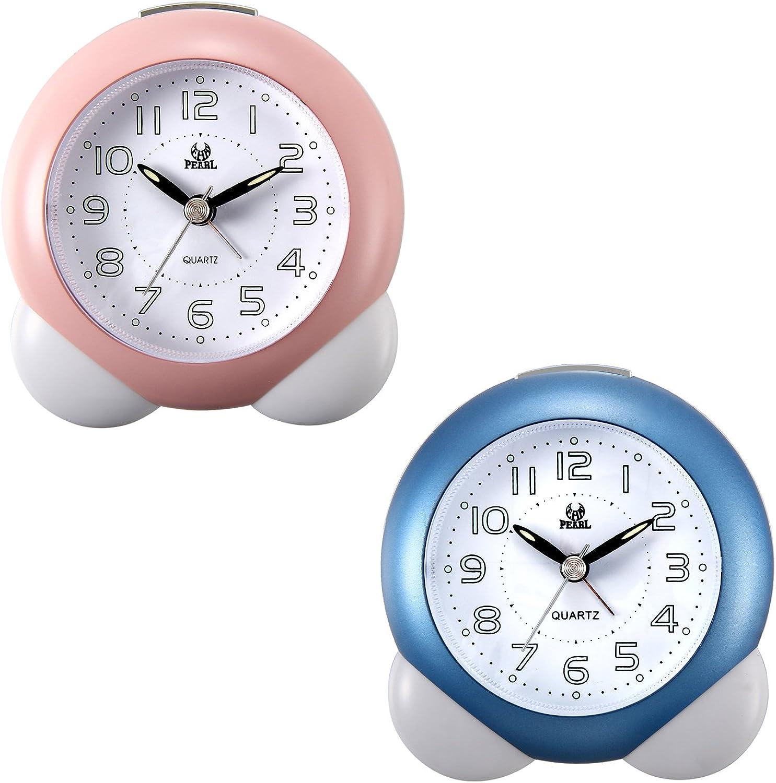 Lancardo Reloj Despertador Analógico de Movimiento Cuarzo Original Plástico Dial Digital con Números Árabes Manos Noctilucentes Silencioso para Uso en Oficina y Estudiante