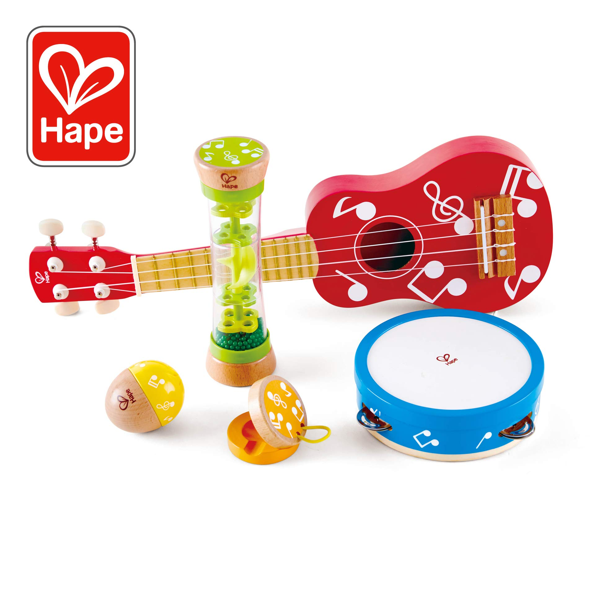 Hape Mini Band Instrument Set | Five Piece Wooden Instrument Music Set for Kids Includes Ukulele, Tambourine, Clapper, Rattle and Rainmaker by Hape