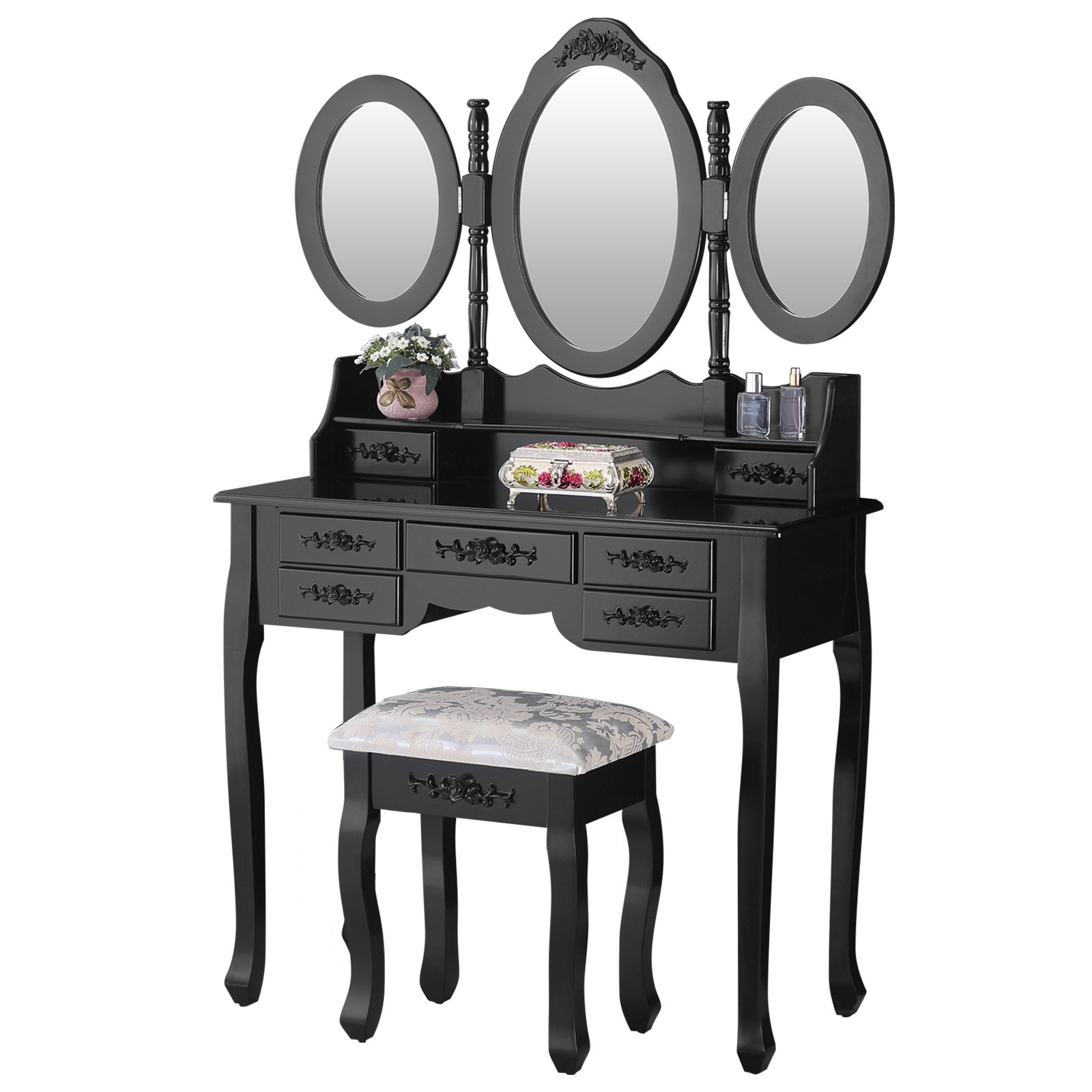 Mecor Makeup Vanity with 7 Drawers,Vanity Table Set w/Tri-fold Mirror Girls Women Wood Dressing Table Cushioned Stool Bedroom Furniture Black by mecor