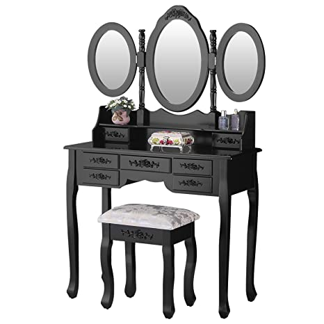 Mecor Makeup Vanity with 7 Drawers,Vanity Table Set w/Tri-fold Mirror Girls  Women Wood Dressing Table Cushioned Stool Bedroom Furniture Black
