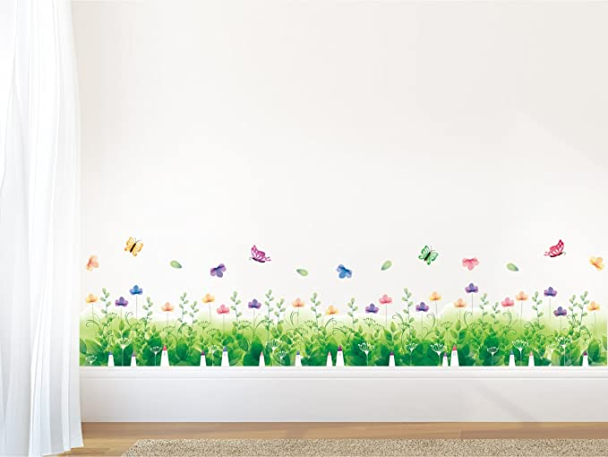 01dd7ac23 Buy Amazon Brand - Solimo Wall Sticker for Bedroom (Nature's Floral Fence,  Ideal Size on Wall, 137 cm x 33 cm) Online at Low Prices in India -  Amazon.in