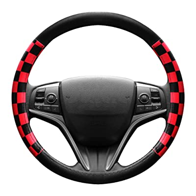 Finex PU Leather Checker Flag Black & Red Car Steering Wheel Cover Auto Car Accessories: Automotive