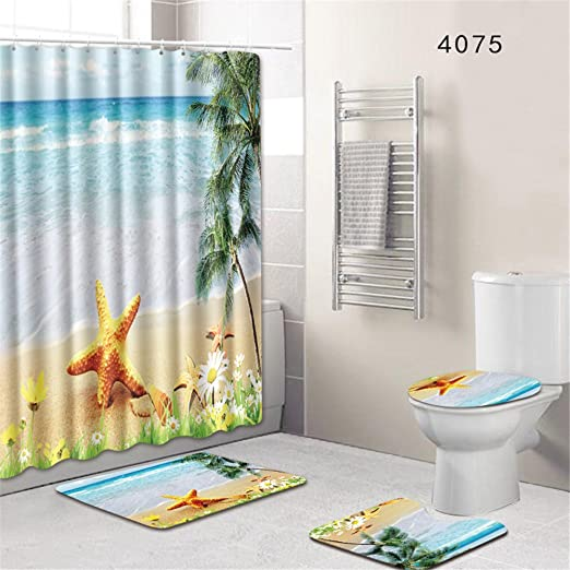 "Shells and lighthouse Shower Curtain Bathroom Waterproof Fabric 12hooks 71*71/"""