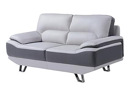 Amazon Com Global Furniture Natalie Loveseat Light Grey And Dark