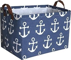 Sanjiaofen Rectangular Canvas Storage Bins,Waterproof Storage Basket,Collapsible Toy Organizer Bin with Handles for Clothes Storage, Kid's Toy Box,Book Bag(Navy Blue Anchor)
