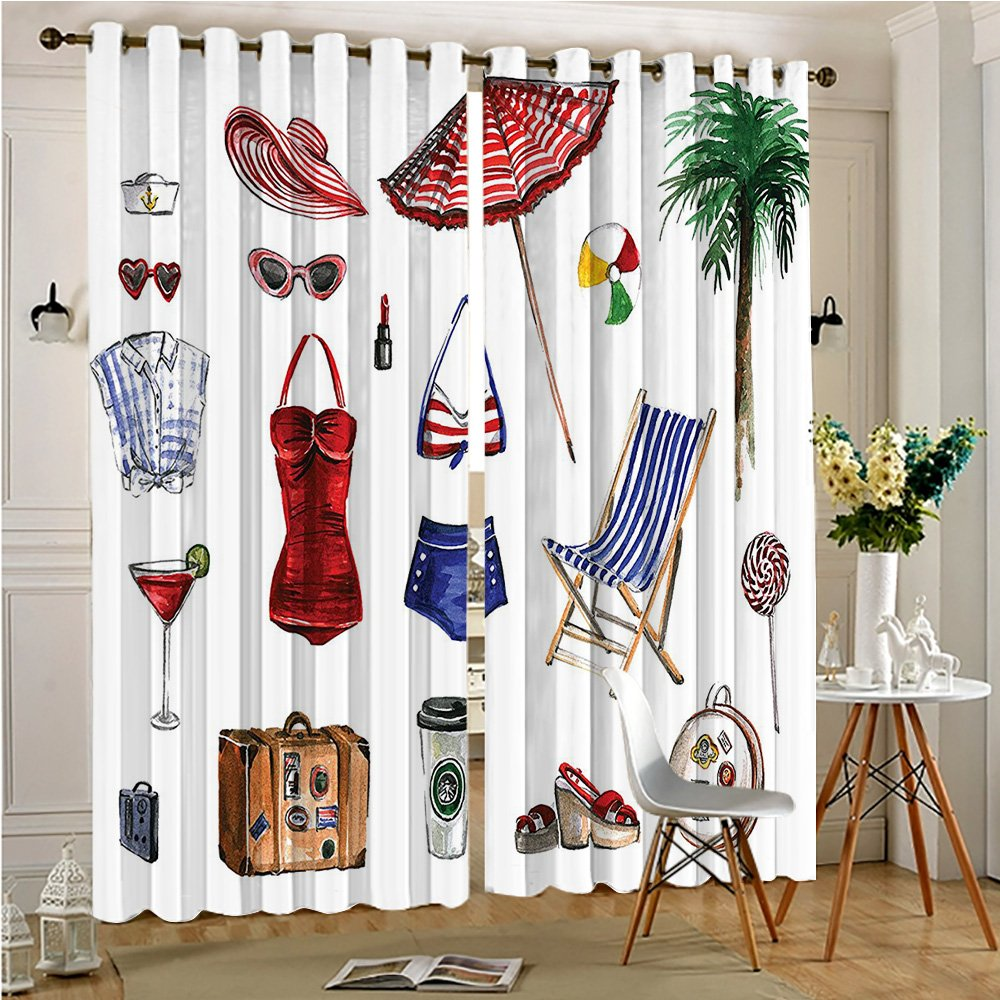Analisahome Thermal Insulated Grommet Top Curtains Female Beach Objects Solar Hot Adventure s Concept Picture Multi for Sliding Glass Door(2 Panels, 84'' x 84'')