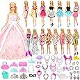 Barwa バービー服 バービー人形用服 バービードレス ジェニー用 EU CE-EN71認証  55枚セット=15枚ドレス+40個アクセサリー プリセンスドレス 子供の日