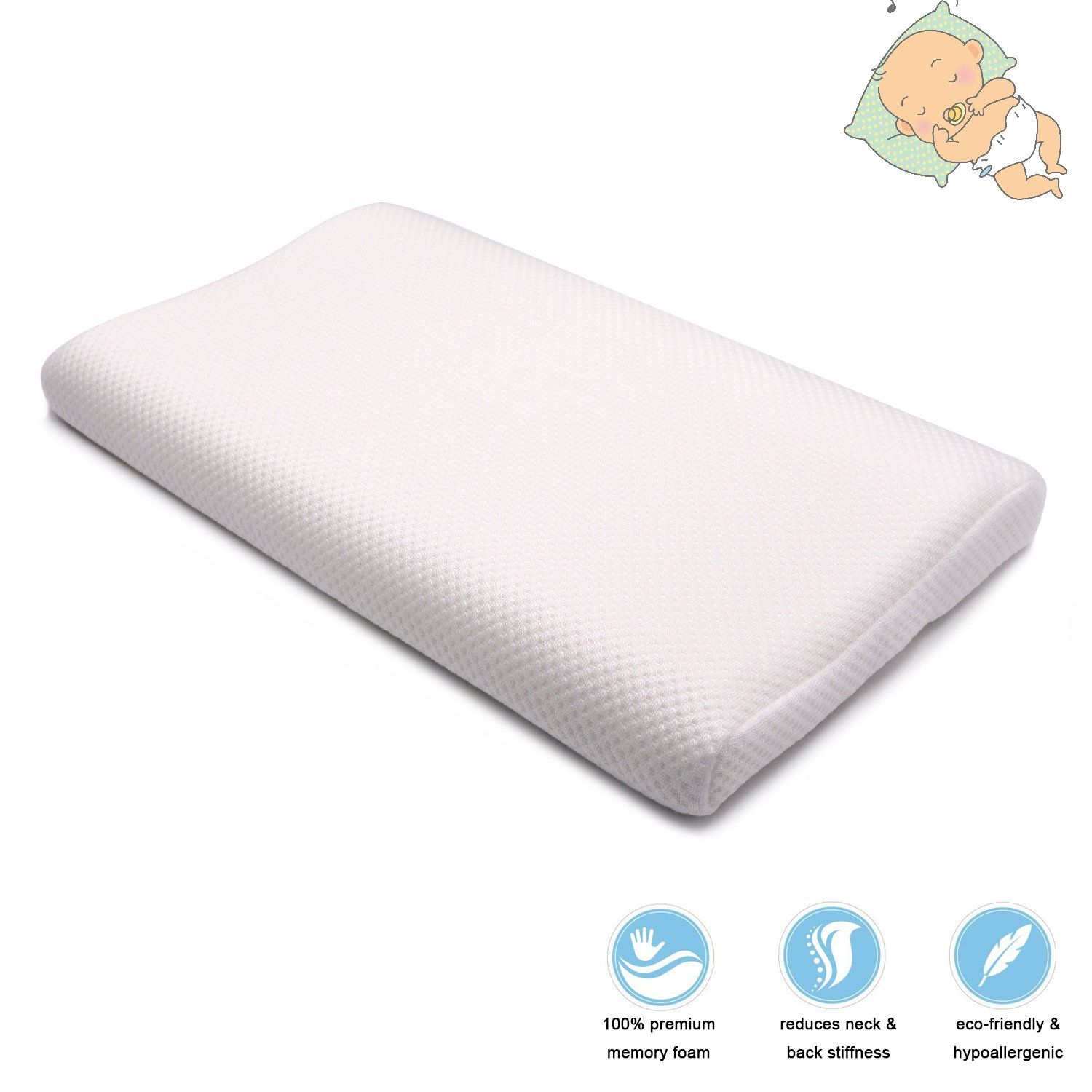 Easy-Tang Baby Pillow Toddler Memory Foam Pillow for Sleeping, Breathable Contour Pillow Ideal for Babies, Kids, Toddlers, with Removable Zipper Bed Pillow Case