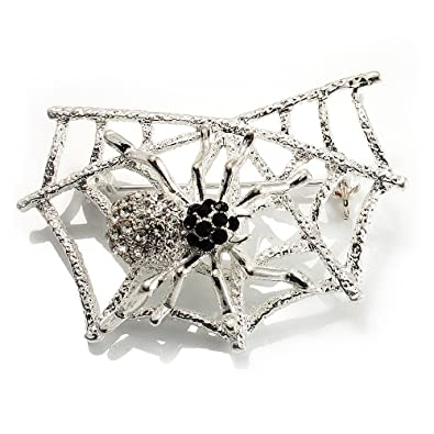 Filigree Flower Brooch in Gold Tone Avalaya Bridal//Wedding//Prom 3D Clear Crystal 53mm D