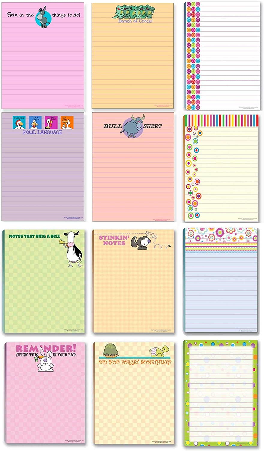 Office Notepads - 12 Assorted Funny Notepads - Great Small Office Gift