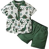 Conjunto Casual de 2 Piezas para bebé, Camiseta de Manga Corta con Estampado de Dinosaurio + Pantalones Cortos elásticos…