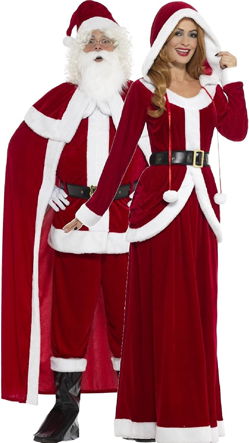 Mens Plush Santa Suit Adult Father Christmas Fancy Dress Costume Outfit Xmas