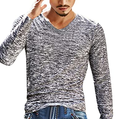 bf1ebdfafac63a Paymenow Mens Shirt Long Sleeve Solid Polo Casual Slim Fit V Neck Top (