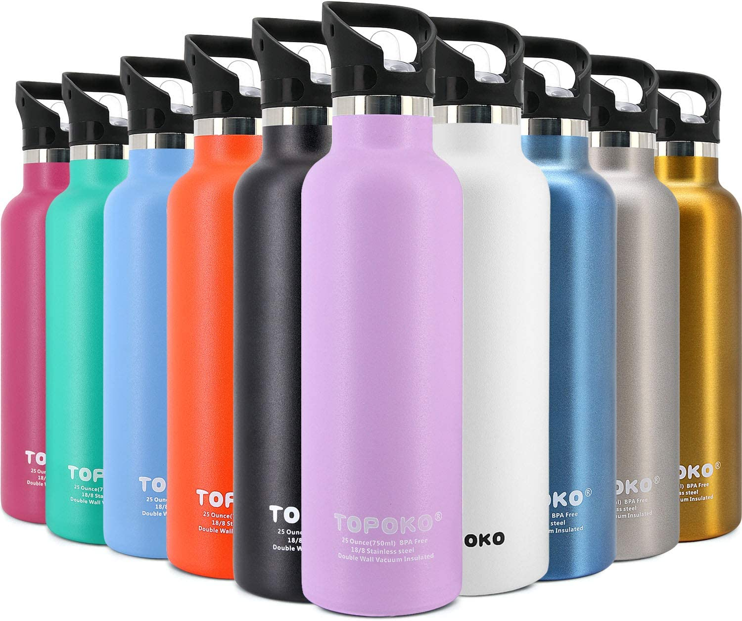 TOPOKO 25 OZ Double Wall Hydro Stainless Steel Flask Water Bottle, Straw Lid with Handle,Hydro Vacuum Insulated Flask, Sweat Proof, Leak Proof Thermos Standard Mouth-Purple